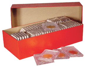 3 Coin Storage Boxes RED Holds 2½ x 2½ Crown Coin Holder Flips Snaps /& Slabs