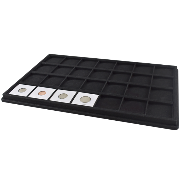 """28 SLOTS 16/"""" x 10/"""" Holds 2 x 2 COIN FLIPS COIN DEALER/'S DISPLAY TRAY"""