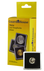 Dime, $2.50 Gold 2x2 Tetra Snaplock Coin Holder - 10 per pack