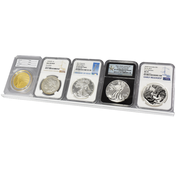 5 Slab Certified Coin Easel Display