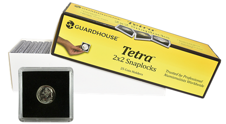 Dime, $2.50 Gold 2x2 Tetra Snaplock Coin Holder - 25 per pack