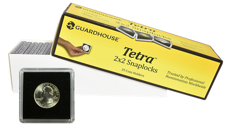 Quarter Tetra 2x2 Tetra Snaplock Coin Holder - 25 per pack