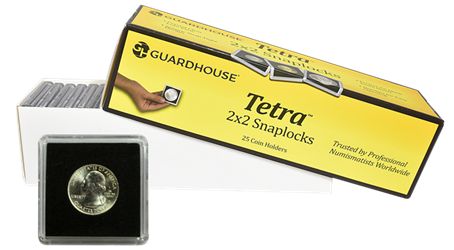 Half Dollar 2x2 Tetra Snaplock Coin Holder - 25 per pack