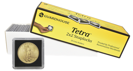 $20 Gold 2x2 Tetra Snaplock Coin Holder- 25 per pack