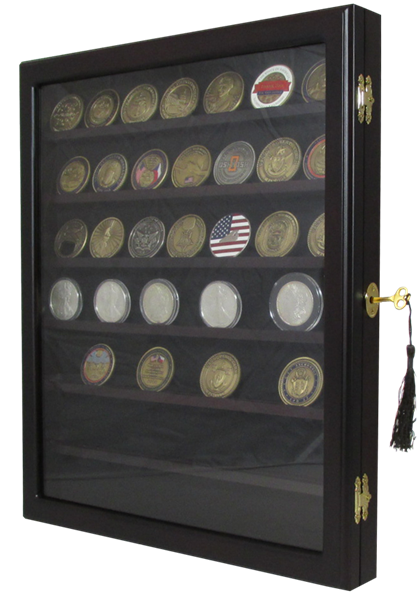 Locking Coin and Challenge Coin Cabinet with 7 Shelves and Lock